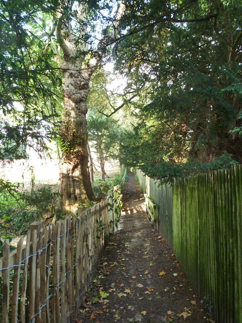 Footpath from Bartlow Hills to the churchyard