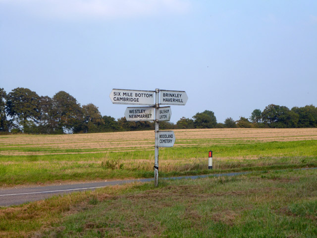 Signpost at a rural crossroads