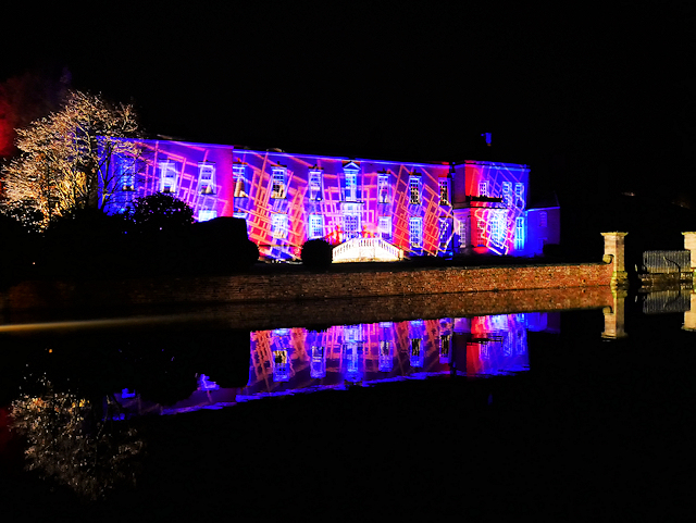 Dunham Massey Hall and Moat, Illuminated for Christmas