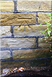 SE1537 : Benchmark on Shipley Station booking office by Roger Templeman