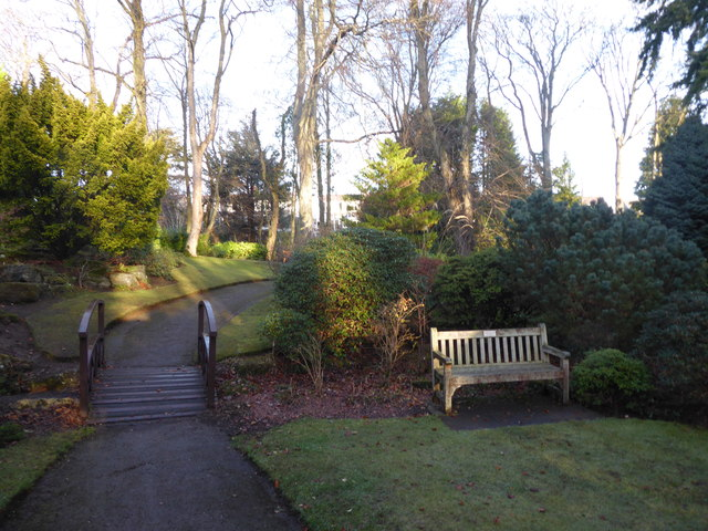 Footbridge from a memorial section of Johnston Gardens