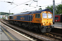 SD9851 : Diesel locomotive in Skipton Station for stone train by Roger Templeman