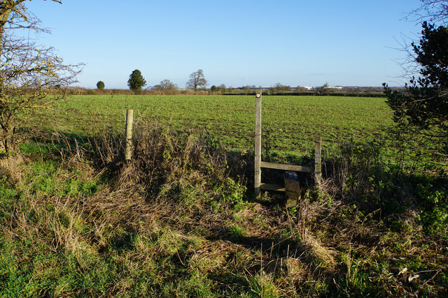 Footpath and stile near Brownsfields Farm
