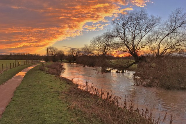 River Great Ouse and Ouse Valley Way at sunset