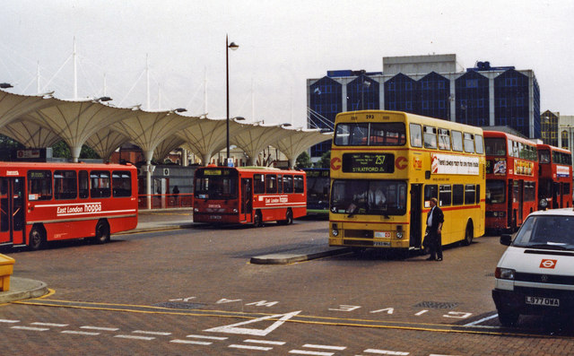 Stratford station, bus yard 1997