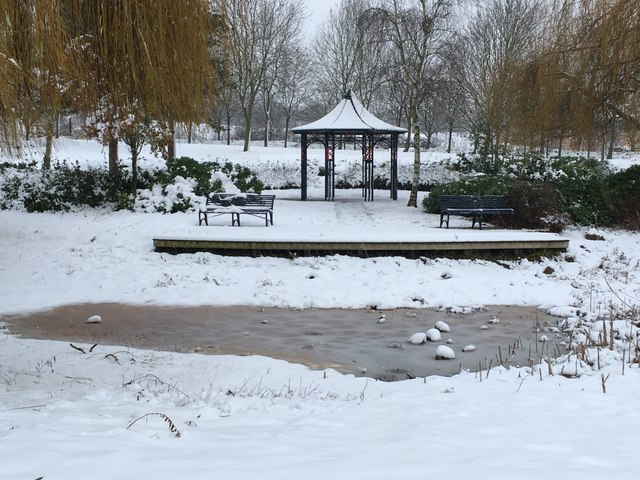 Park furniture in the snow