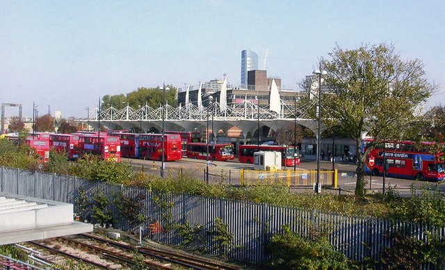 Stratford station: bus station from Low Level footbridge, 2007
