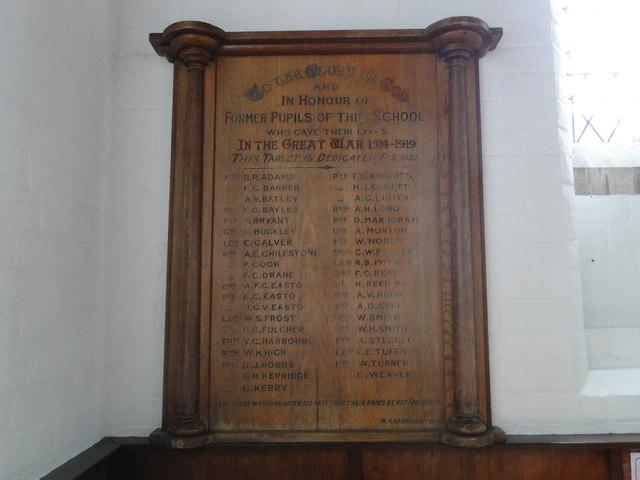 Diss Secondary School First World War Memorial