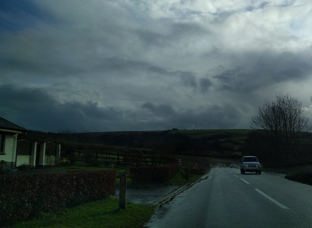 The A39, south of Churchtown, heading south