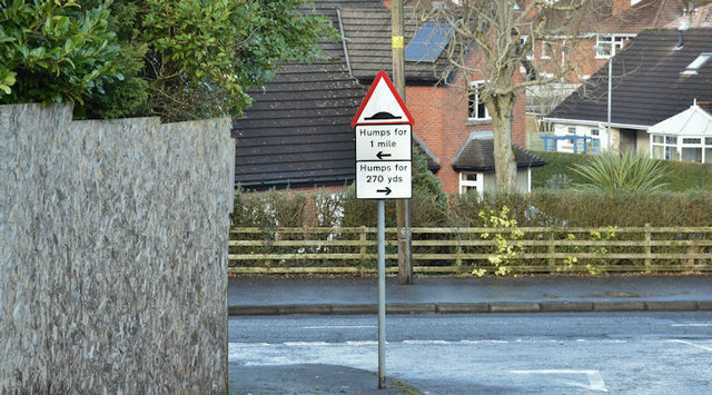 """Road humps"" sign, Gilnahirk, Belfast (January 2018)"