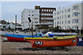 TQ1502 : Fishing boats and seafront apartments, East Worthing : Week 2