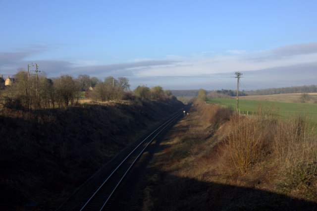 Railway line towards Worcester at Hanborough