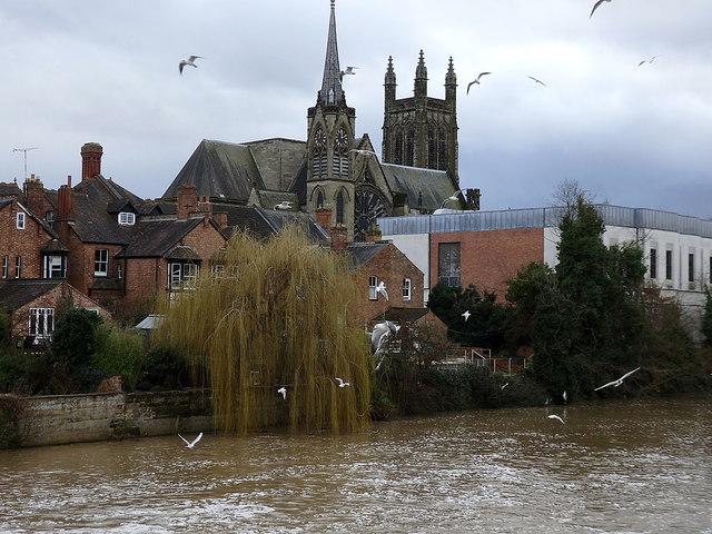 All Saints Church across the River Leam, Leamington