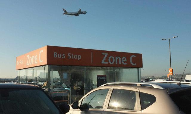 Bus stop, Terminal 5 car park, Heathrow