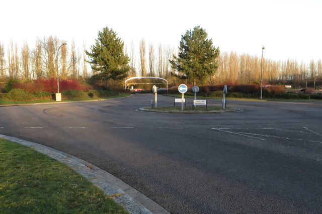 Green Lane roundabout and car park entrance