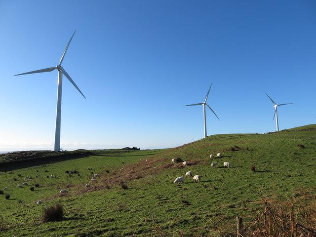 Windfarm and sheep farming near the Taff Ely Ridgeway walk