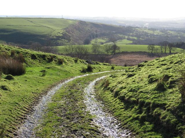 Track descending towards Llanbad