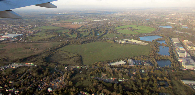 View over M4 and Colne Brook valley from the air
