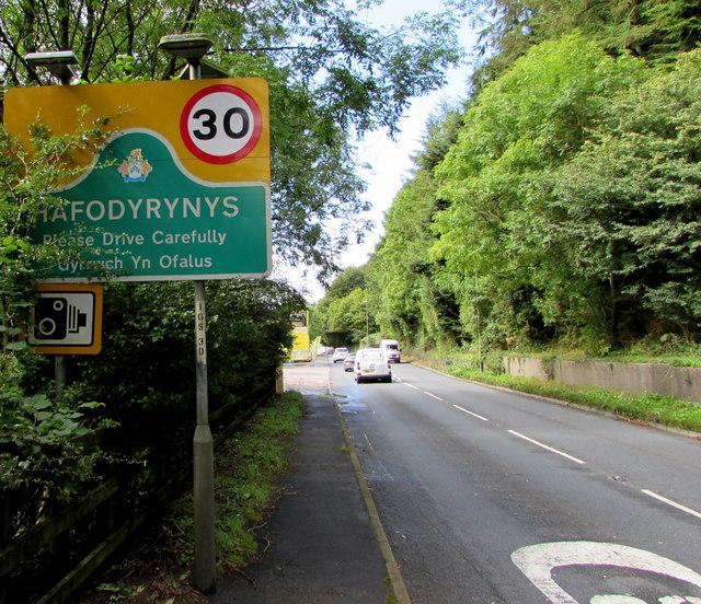 Eastern boundary of Hafodyrynys - Please Drive Carefully