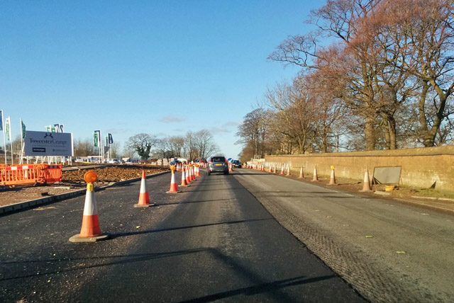 Road works on A5, Towcester