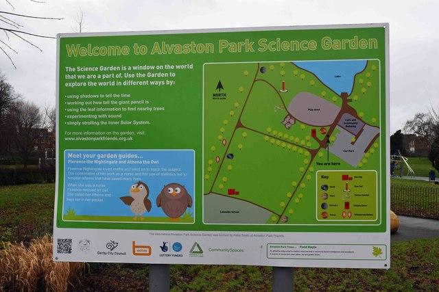 Alvaston Park Science Garden information board, Derby