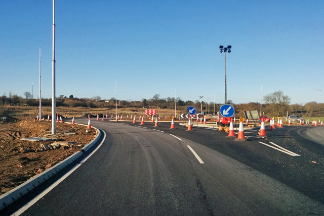 New roundabout on A5, Weedon