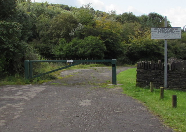 Metal barrier across the entrance to a former car park, Hafodyrynys