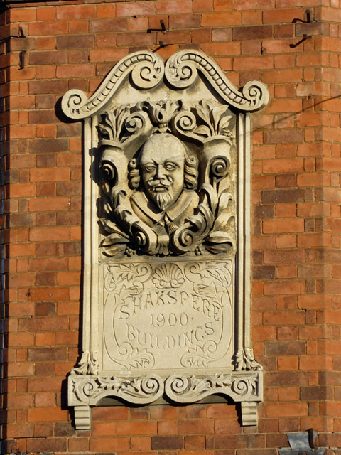 Tablet on Shakespeare Buildings, Rugby
