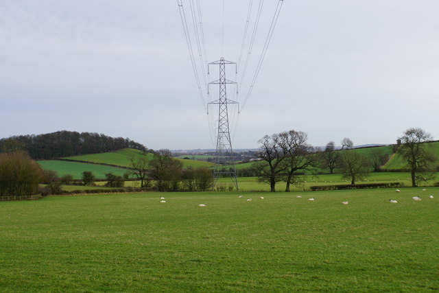 Line of pylons near Brockhurst Cottages