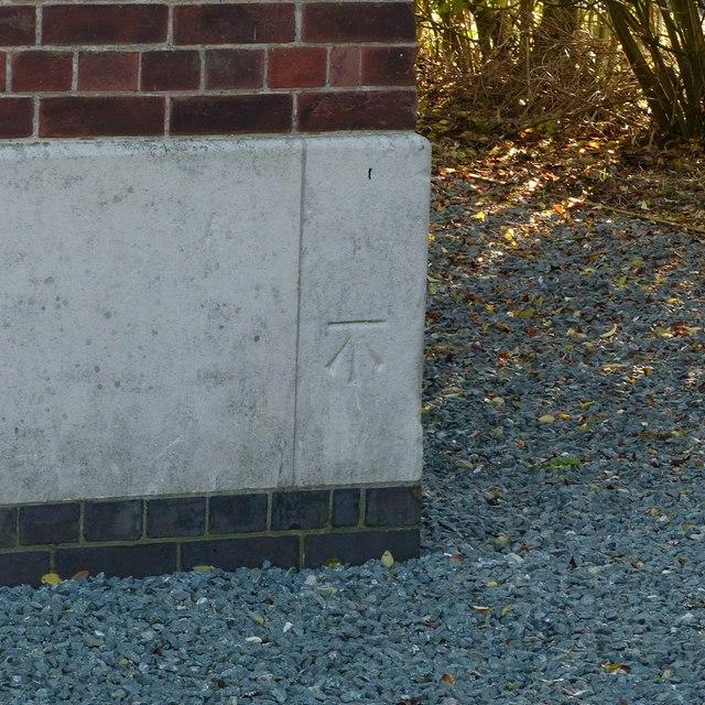 Bench mark, waterworks building, Wilne Lane