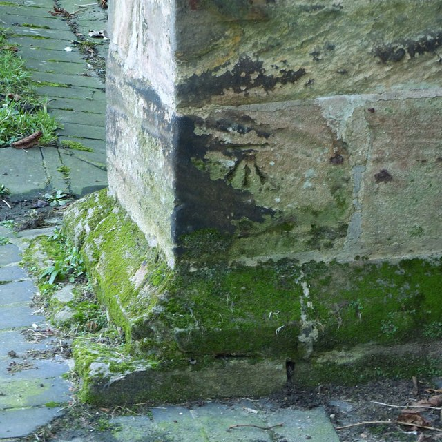Bench mark, All Saints Church, Sawley