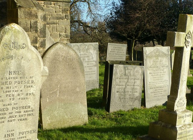Gravestones in Sawley churchyard