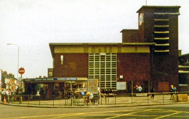 Turnpike Lane Underground station, on Green Lanes 1993