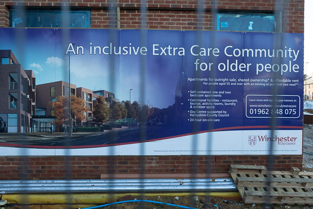 Sign advertising new 'Extra Care' homes, Chesil Street