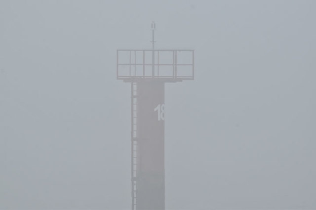 Foggy channel marker, Belfast harbour (January 2018)