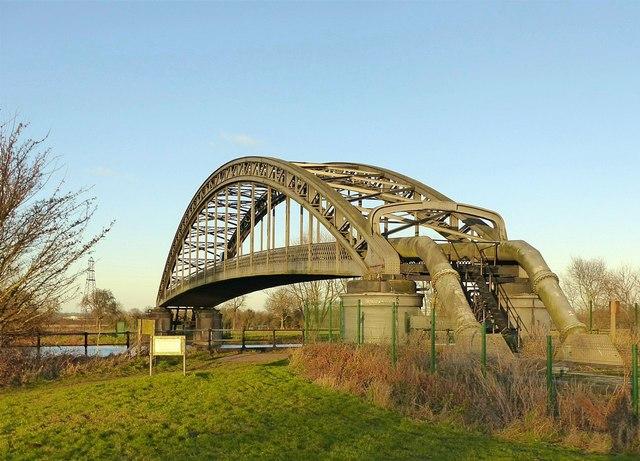 Pipe bridge over the River Trent near Sawley