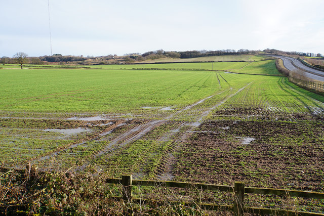 Waterlogged fields by the A5