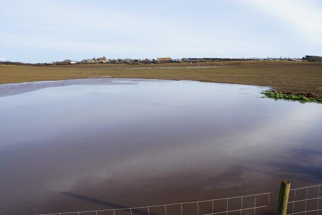 Flooded field below Common Barn Farm