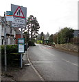 ST1982 : Warning sign - No footway for ¾ mile, Lisvane Road, Lisvane, Cardiff by Jaggery