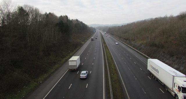 West along the M4 motorway, Lisvane, Cardiff