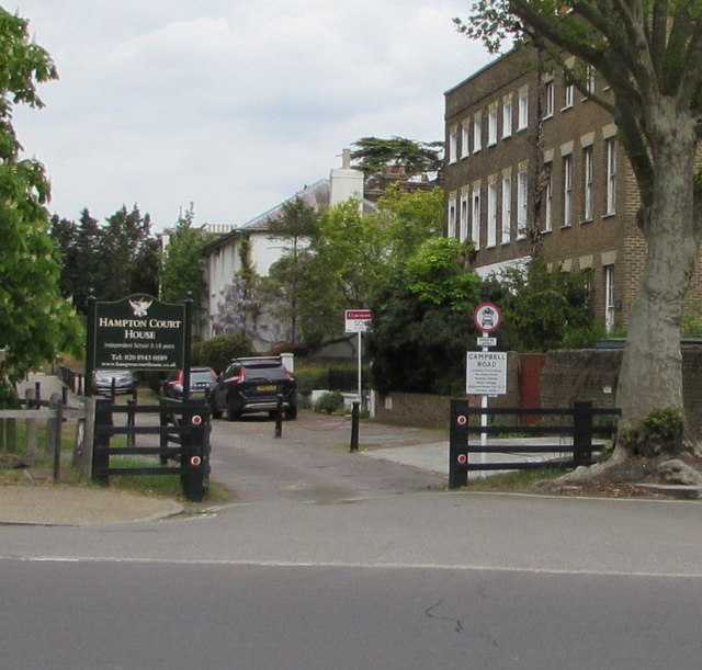 Access road to Hampton Court House School, East Molesey
