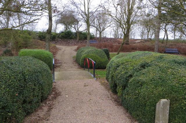 Ornamental footbridge by the hedges