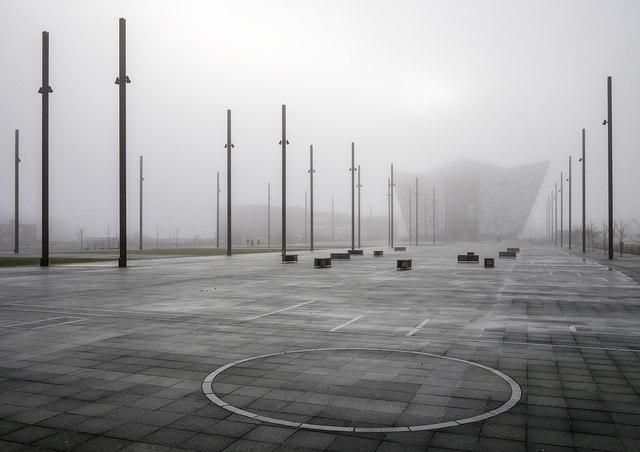 Titanic Belfast in the fog