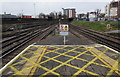 SU6500 : Yellow markings on the western end of Fratton railway station, Portsmouth by Jaggery