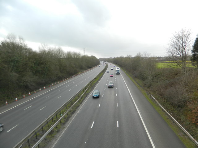 The M4, looking west from Brynsadler