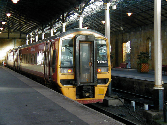 A class 158 in the train shed at Scarborough