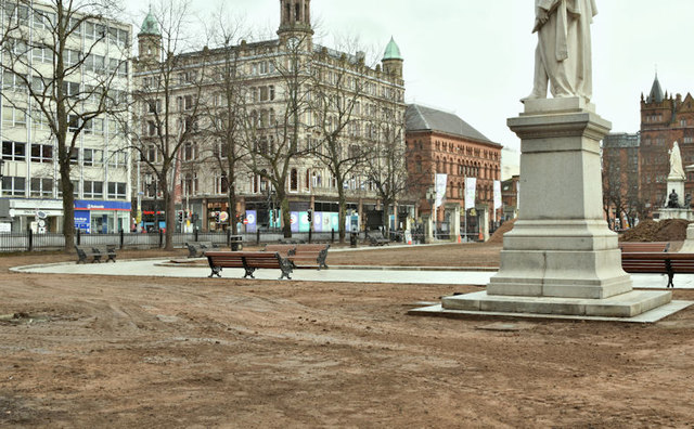 Belfast City Hall grounds without grass (January 2018)