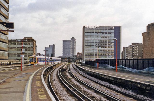 Waterloo East, eastwards towards  London Bridge on Local lines, 1997