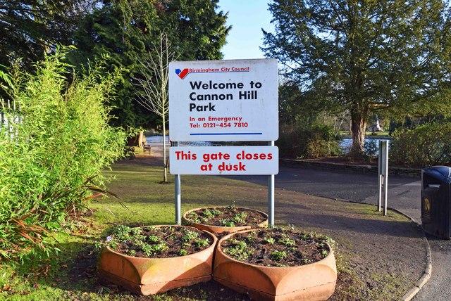 Sign in Cannon Hill Park, Edgbaston, Birmingham