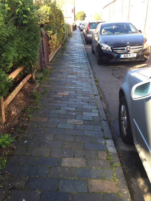 Old blue clay pavers and kerbs, Mansell Street, Stratford-upon-Avon